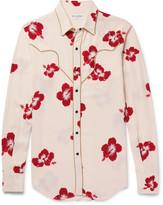 Saint Laurent - Slim-fit Penny Collar Metallic-trimmed Floral-print Crepe Shirt