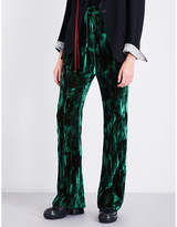 Ann Demeulemeester Wide-leg crushed-velvet trousers