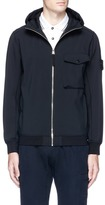 Stone Island Fleece lined Soft Shell-R zip hoodie