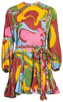 Rhode Resort Abstract Tie Pleated Mini Dress
