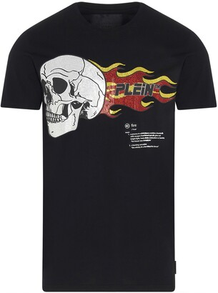 Philipp Plein Skull On Fire Print T-Shirt
