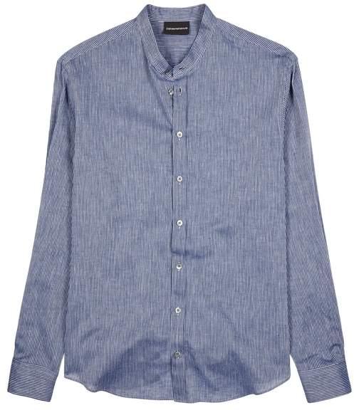 Emporio Armani Striped Linen Blend Shirt