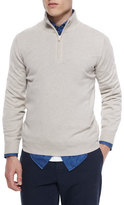 Brunello Cucinelli Cashmere Quarter-Zip Pullover Sweater, Light Brown