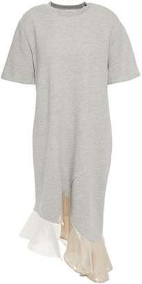 Clu Ruffled Lame, Woven And French Cotton-blend Terry Dress