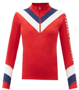 Perfect Moment Chevron-striped Quarter-zip Thermal Top - Red