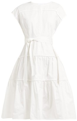 Binetti Love Simple Minds Tie-waist Tiered Cotton Dress - Womens - White