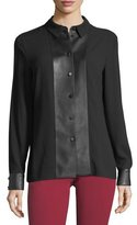 Escada Blouse with Faux Leather Trim