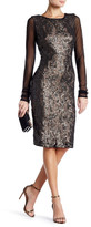 Vera Wang Long Sleeve Beaded Sheath Dress