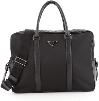 Prada Convertible Zip Around Briefcase Tessuto with Saffiano Leather Medium