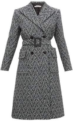 Givenchy Belted Double Breasted Herringbone Wool Coat - Womens - Black Multi