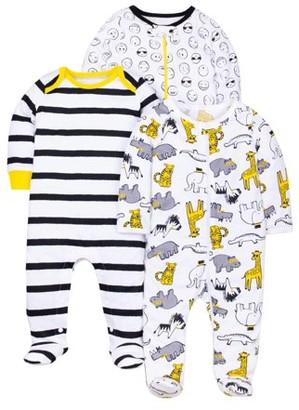 Little Star Organic 100% Organic Cotton Sleep N Play Pajamas, 3pk (Baby Boys)