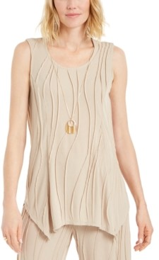 JM Collection Sleeveless Textured Necklace Top, Created for Macy's