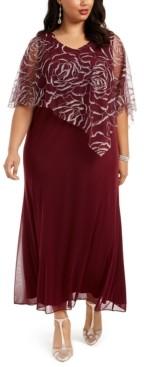 SL Fashions Plus Size Asymmetrical Glitter Cape Gown