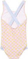 Heidi Klein Pink Lotte Cross Back One Piece with Blue Gingham Ruffle