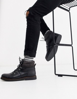 Dune leather chunky hiker boot in black