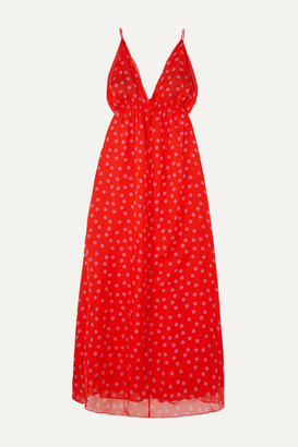 Eywasouls Malibu Harriet Polka-dot Chiffon Maxi Dress - Red