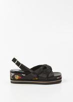 Dries Van Noten black knot sandal wedge