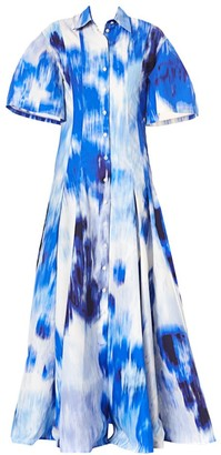 Carolina Herrera Wide-Sleeve Belted Maxi Shirtdress