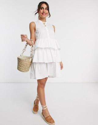 Y.A.S cotton mini dress with tiered skirt in white