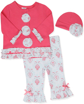 Baby Essentials Pink Geometric Snap-Up Top Ruffle-Hem Leggings & Beanie - Infant