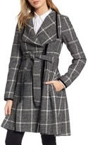 GUESS Women's Velvet Trim Plaid Tweed Coat