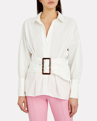 C/Meo Collective Artwork Belted Button Down Shirt