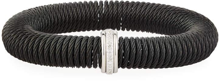 Alor Kai Steel & 18k Gold Diamond Spring-Coil Bangle, Black