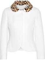 Maison Margiela Leopard-print Velvet-trimmed Neoprene Jacket - Off-white