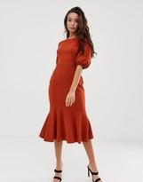 Asos Design DESIGN lace mix midi pencil dress with pep hem
