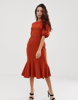Asos Design DESIGN lace mix midi pencil dress with pep hem-Orange