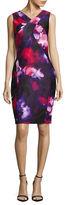 Calvin Klein Sleeveless V-Neck Printed Sheath Dress