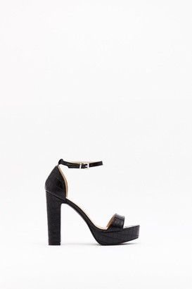 Nasty Gal Womens What the Croc Faux Leather Platform Heels - black - 5