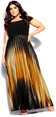City Chic Passion Ombre Maxi Dress - bronze