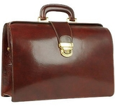 Forzieri Dark Brown Italian Leather Buckled Medium Doctor Bag