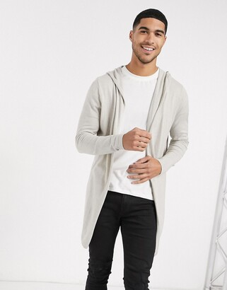 ASOS DESIGN knitted hooded cardigan in stone