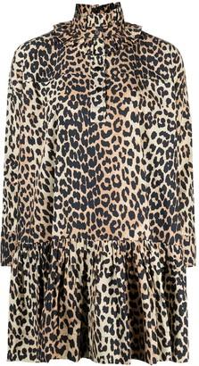 Ganni Ruffled-Neck Leopard Dress