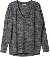 Joe Fresh Women's V-Neck Active Sweater, Charcoal (Size XL)