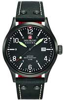 Swiss Military Men's Quartz Watch with Black Dial Analogue Display and Black Leather Strap 6-4280.13.007.07