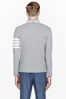 Thom Browne Grey Waffle Texture Striped-Sleeve Collared Cardigan