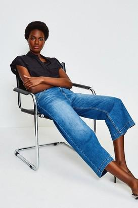 Karen Millen Denim Wide Leg Cropped Jean