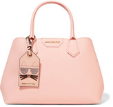 Karl Lagerfeld Lady Shopper Textured-leather Tote - Pastel pink