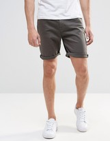 Asos Slim Denim Shorts In Dark Khaki