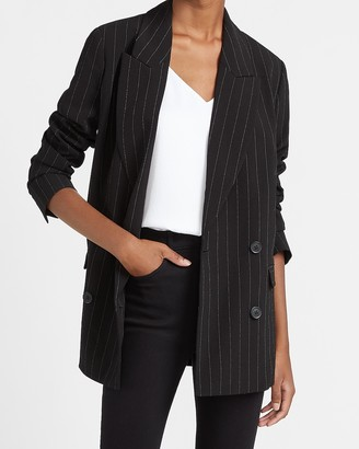 Express Oversized Double Breasted Pinstripe Blazer