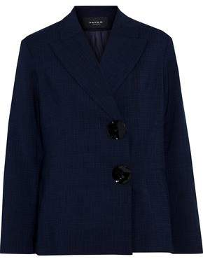 Paper London Button-embellished Checked Crepe Blazer