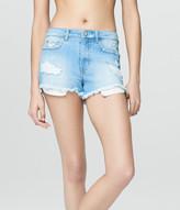 High-Waisted Light Wash Denim Cutoff Shorty Shorts