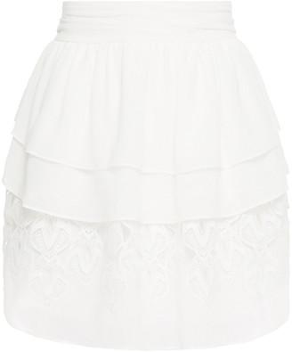 IRO Mugue Tiered Crepe De Chine And Macrame Lace Mini Skirt