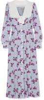 Alessandra Rich Pleated Floral-print Silk Crepe De Chine Midi Dress