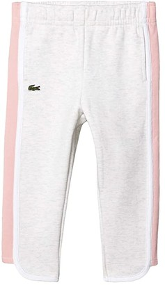 Lacoste Kids Fleece Athleisure Track Pants (Toddler/Little Kids/Big Kids) (Alpes Grey Chine/Lychee/White) Girl's Casual Pants