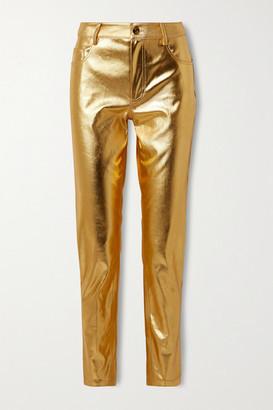 Area Metallic Coated Mid-rise Straight-leg Jeans - Gold