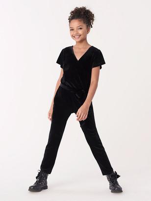 Diane von Furstenberg Levy Girls Velvet Faux-Wrap Jumpsuit